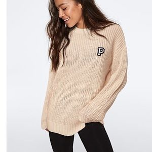 VS PINK Heritage Chunky Knit Sweater Small oatmeal